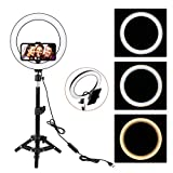 ZoMei 10' Selfie LED Ring Light with Tripod Stand &Cell Phone Holder for Live Stream/Makeup/YouTube Video,Dimmable Beauty Mini Camera Photography Ringlight for iPhone Xs Max XR Android