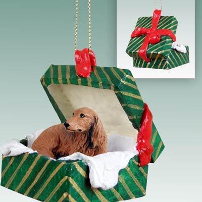 Dachshund Green Gift Box Dog Ornament - Red