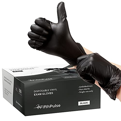 FifthPulse Black Vinyl Disposable Gloves X Large 50 Pack - Latex Free, Powder Free Medical Exam Gloves - Surgical, Home, Cleaning, and Food Gloves - 3 Mil Thickness