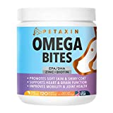 Petaxin Omega 3 Fish Oil for Dogs Chew - with EPA, DHA, and Biotin - Supports Healthy Skin, Shiny Coat, Hips & Joints, Heart Health, and Brain Function - Skin and Coat Supplement - Non-GMO - 120 Ct.