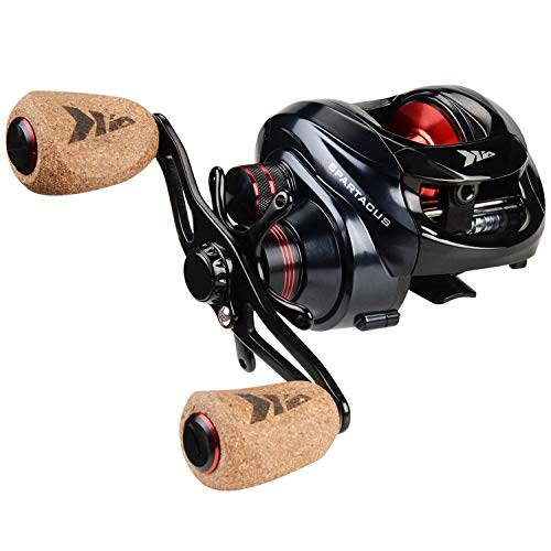 KastKing Spartacus Plus Baitcasting Fishing Reel Ultra Smooth 17.5 LB Carbon Fiber Drag, 6.3:1 Gear Ratio,11 + 1 Shielded Ball Bearings, Rubber Cork Handle Knobs