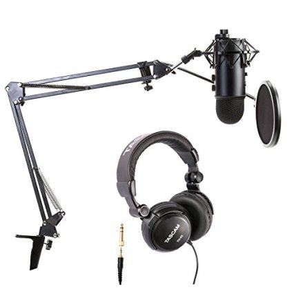Blue-Microphones-Blackout-Yeti-Bundle-with-Boom-arm-Pop-Filter-Shock-Mount-and-Headphones