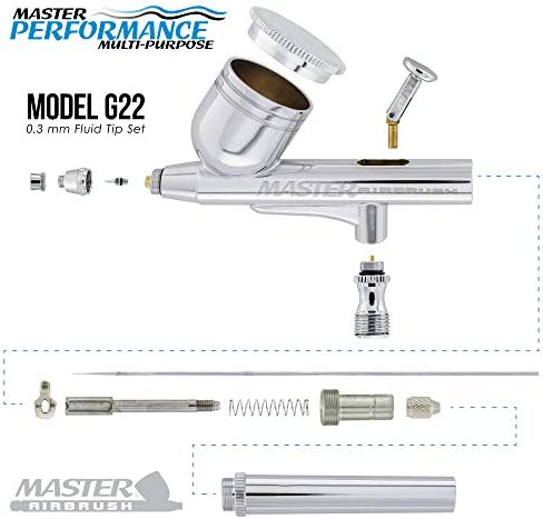 Master Airbrush Multi-Purpose Airbrushing System Kit with Portable Mini Air Compressor - Gravity Feed Dual-Action Airbrush, Hose, How-to-Airbrush Guide Booklet - Hobby, Craft, Cake Decorating, Tattoo