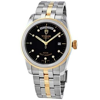 Mens Tudor Glamour Date and Day Black Diamond Dial, Steel and Gold