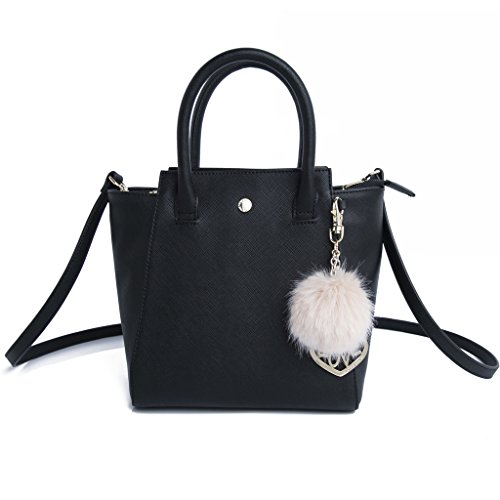 "41f5QDpuzeL Wipe Clean Only Small top-handle bag featuring cross-hatch faux leather, detachable shoulder strap, and pom pom and ""love"" heart keychain Dimensions: 7.87''(L) x 7.87''(H) x 4.72''(D)"