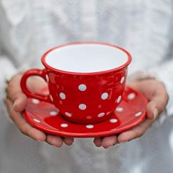 Red Polka Dot 12oz Coffee Tea Cup and Saucer