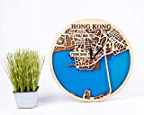 Birthday Gift for Girl Hong Kong 12 Inch Wooden Clock China Wooden Decor Hong Kong Wooden Wall Clock City Art Wooden Wall Clock with Hong Kong Map Design 3D Wooden Map Clock Xmas Gift for Man
