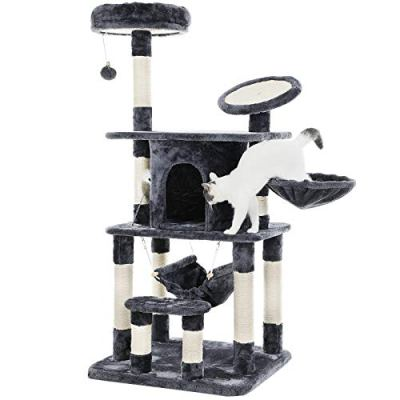 """FEANDREA 55"""" Multi-Level Cat Tree Condo Tower with Scratching Post and Pad Kitty Play House Furniture Grey UPCT25G"""