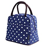 Bagbang Insulated Lunch Bags for Women Girls Reusable Soft Cooler Tote Bags Lunch Box for Picnic School Office Outdoor Shopping with Large Capacity Blue Dot