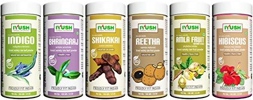 IYUSH Herbal Ayurveda Amla Reetha Shikakai Bhringraj Hibiscus and Indigo Powder – (pack of 6, Total 600gm) 100gm each