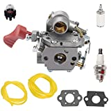 Euros C1M-W44 Carburetor with Fuel Filter Line Spark Plug Primer Bulb for Poulan PP338PT PP333 PP133 Pro Gas Trimmer 33cc Carb Replace 545189502 545008042