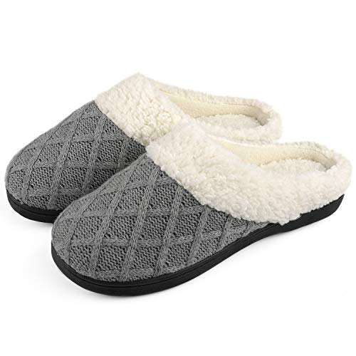 ULTRAIDEAS Women's Cozy Memory Foam Knit Slippers, Ladies' Slip on Mules House Shoes with Indoor Outdoor Anti-Skid Rubber Sole Dark Gray
