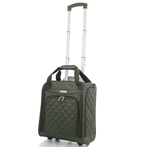 Aerolite - Aerolite Carry On Under Seat Wheeled Trolley Luggage Bag (Olive)