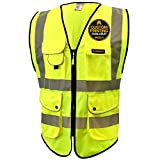 KwikSafety (Charlotte, NC) SUPERIOR (9 Pockets) Class 2 ANSI High Visibility Reflective Safety Vest Heavy Duty Mesh Zipper and Hi Vis Construction Surveying Engineering Work HiViz Men Yellow X-Large