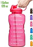 Giotto Large 1 Gallon/128oz Motivational Water Bottle with Time Marker & Straw, Leakproof Tritan BPA Free, Ensure You Drink Enough Water Daily for Fitness, Gym and Outdoor Sports-Pink
