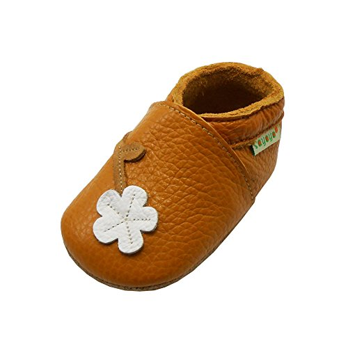 Sayoyo Baby Cute Plum Flower Soft Sole Leather Baby Shoes Baby Moccasins (6-12 months, Orange)