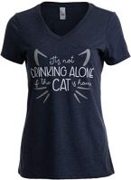 Its-Not-Drinking-Alone-if-Cat-is-Home-Funny-Joke-Fun-V-Neck-T-Shirt-for-Women-VneckXL-Vintage-Navy