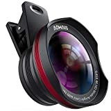 Phone Camera Lens, AOMAIS Pro Camera Lens Kit Compatible with iPhone/Samsung/Google Pixel etc, Macro and Wide Angle Lens with LED Light, Quick-Release Lanyard & Travel Case