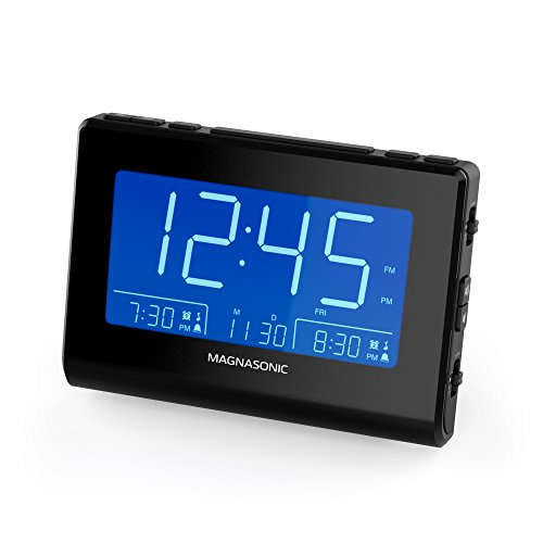 Magnasonic Alarm Clock Radio with USB Charging for Smartphones & Tablets, Auto Dimming, Dual Gradual Wake Alarm, Battery Backup, Auto Time Set, Large 4.8' LED Display, AM/FM (CR63)