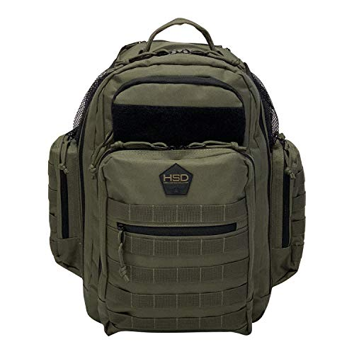 HSD Diaper Bag Backpack + Changing Pad, Insulated Pockets, Stroller Straps for The Tactical Dad (Ranger Green)