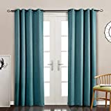 MYSKY HOME Blackout Curtains for Kids Room Grommet Top Thermal Insulated Leaf Embossed Room Darkening Drapes for Living Room (Teal, 52' x 95', Single Panel)