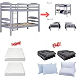 Mainstays` Twin Over Twin Wood Bunk Bed in Gray Finish Bundle Set with Free!