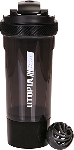 Classic Protein Mixer Shaker Bottle (24-Ounce Bottle) with Twist and Lock  Protein Box Storage - Flip Cap and Tapered Spout - by Utopia Home