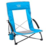 Timber Ridge Beach Chair Outdoor Portable with Carry Bag Low Sling Easy Folding Lightweight Cooler Mesh Back for Camping