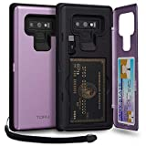 TORU CX PRO Note 9 Wallet Case Purple with Hidden Credit Card Holder ID Slot Hard Cover, Strap, Mirror & USB Adapter for Samsung Galaxy Note 9 (2018) - Lavender