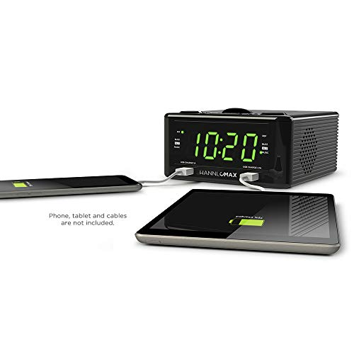 Hannlomax HX-300CD Top Loading CD Player, PLL FM Radio, 1.2' Digital Clock, Dual Alarm, USB Ports for 2.1A & 1.2A Charging, Aux-in