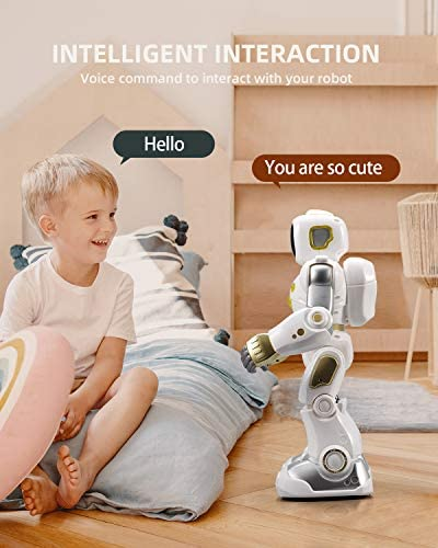 Ruko AI Robots for Kids, Large Programmable RC Robot Toy with APP Control Voice Command Touch Response Bluetooth Speaker Emoji for 3-12 Years Old Boys Girls (Golden) 15