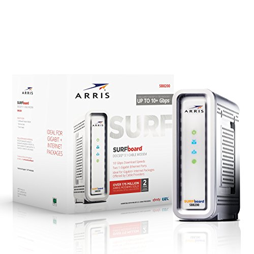 ARRIS Surfboard Gigabit Docsis 3.1 Cable Modem, 10 Gbps Max Speed, Approved for Cox, and Xfinity. (SB8200)