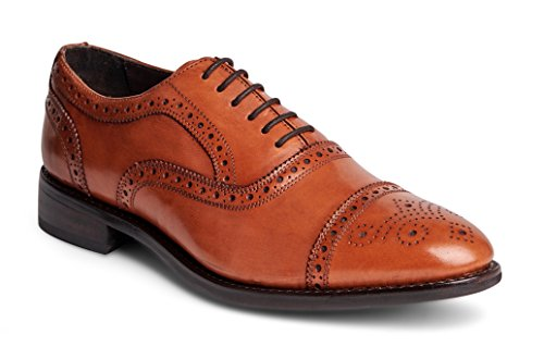 Anthony Veer Men's Ford Wingtip Brogue Lace-up Full Grain Leather Dress Formal Wedding Office Shoes Goodyear Welt (13 D(M) US, Walnut Full Grain Calfskin - Rubber Sole)