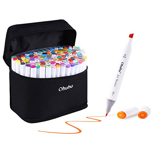 120 Colors Art Markers Set, Ohuhu Dual Tips Coloring Marker Pens for Kids, Fine and Chisel Tip Double-Ended Alcohol Based Drawing Markers for Sketch Adult Coloring Book, Back to School Art Supplies