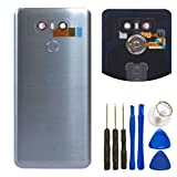 For LG G6 Glass Battery Back Cover - Battery Door Cover + Fingerprint Flex Sensor + Camera Glass Lens Cover Replacement Parts (Waterproof) with Tool Kit For LG G6 Verizon VS988 (Gary)