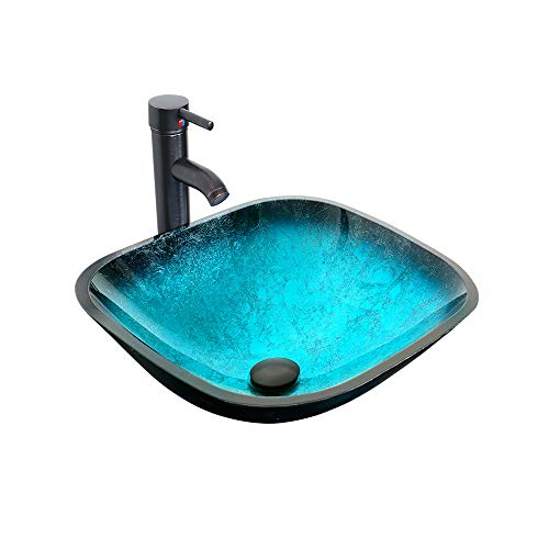 "eclife 16.5"" Turquoise Square Bathroom Sink Artistic Tempered Glass Vessel Sink Combo with Faucet 1.5 GPM and Pop up Drain Bathroom Bowl A10 (Square Turquoise)"
