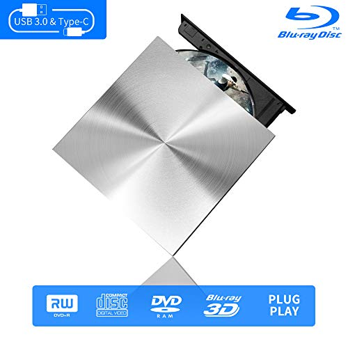 External Blu Ray DVD Drive 3D, USB C & 3.0 Burner Slim Optical Portable Blu-ray CD DVD Reader Writer RW Player for Laptop Desktop MacBook OS Windows 7 8 10 PC iMac Laptop (Silver)