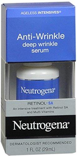 Neutrogena Ageless Intensives Anti Wrinkle Cream, Face Serum with Retinol SA - Face Moisturizer, wrinkle filler and Dark Circles with Glycerin, Retinol, Vitamin E, Vitamin A, 1 fl. oz (Pack of 2)