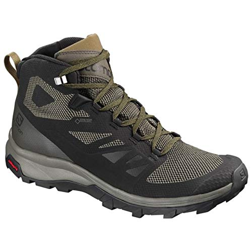 Salomon Men's Outline Mid GTX Hiking Boots Black/Beluga/Capers 10