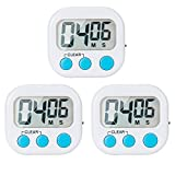 3 Pack Small Digital Kitchen Timer Magnetic Back And ON/OFF Switch,Minute Second Count Up Countdown