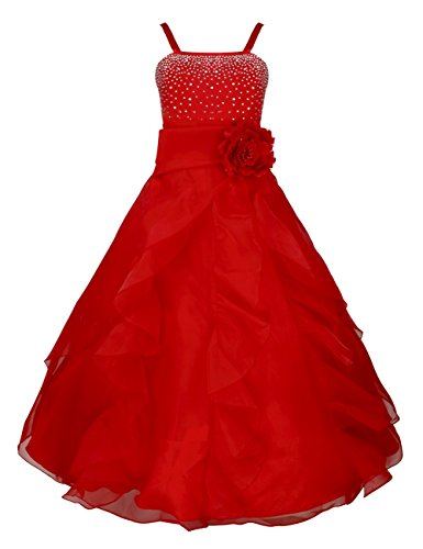 TiaoBug Girls Princess Organza Flower Tutu Wedding Party Pageant Gown Dress Red 8
