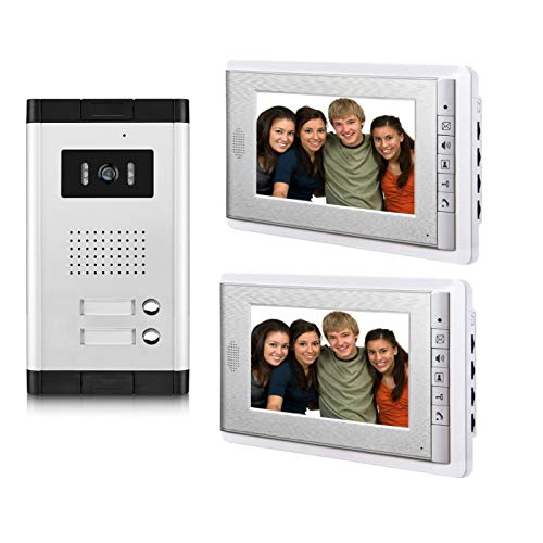 AMOCAM 2 Household Apartment Video Intercom System,Video Door Phone Kit, 1 pcs Night Vision Camera, 2 pcs 7' LCD Monitor Wired Video Doorbell System, Support Monitoring, Unlock, Dual Way intercom