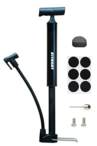 Bike Pump, Kitbest Aluminum Alloy Portable Bike Floor Pump, Mountain, Road, Hybrid & BMX Bike Tire Pump, Floor Bicycle Air Pump Compatible with Presta & Schrader Valve & Sports Ball (Black)