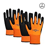 Golden Scute 2 Pairs Hi Vis Micro-Foam Nitrile Coated Work Gloves, Excellent Grip, Cold Weather Safety Protective Gloves, 2 Layers(Large/Size 9)