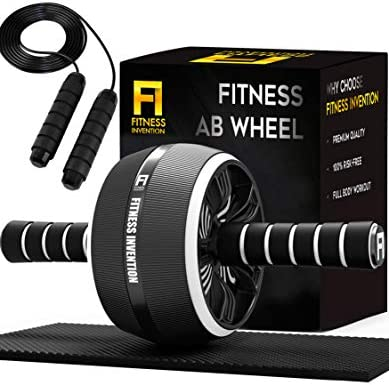 Fitness Invention Ab Roller Wheel - 3-in-1 Ab Wheel Roller with Knee Mat and Jump Rope - Ab Roller Wheel for Abdominal Exercise - Ab Workout - Home Workout Equipment - Abs Wheel Roller - Abs Roller 3