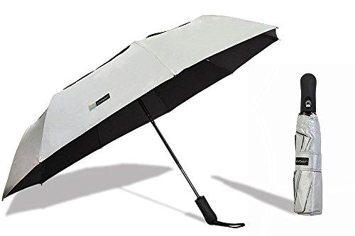 UVDAY Auto Open Close UV Protection Folding Vented Travel Compact Sun Umbrella UPF50+ (23', Silver)
