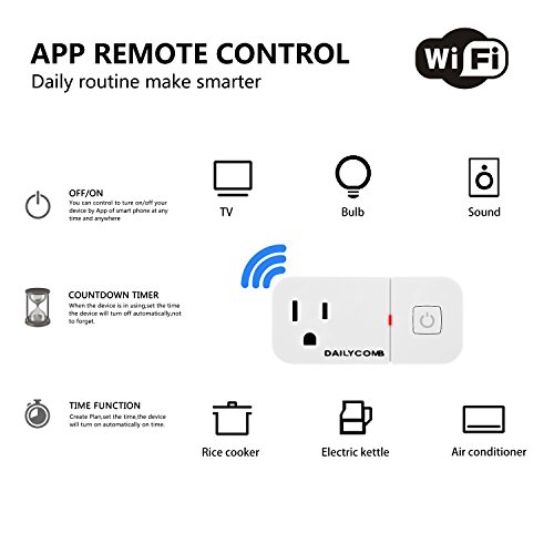 Smart Plug, Compatible With Alexa & Google Home, USB Charger (5V 2 1A),  DAILYCOMB Wi-Fi Mini Smart Outlet With Timing Function, No Hub Required,  Easy