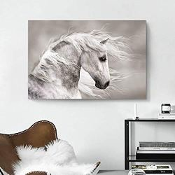 Animals Artwork Wildlife Picture Painting: White Horse Head Graphic Art Print for Wall Decor(36″x24″x1 Panel)