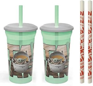 Zak Designs Star Wars The Mandalorian Baby Yoda The Child Fun Sip Tumbler with Straw – Durable and BPA Free Kids' Drinkware Includes 2 Bonus Reusable Straws (2-Pack, 14oz)