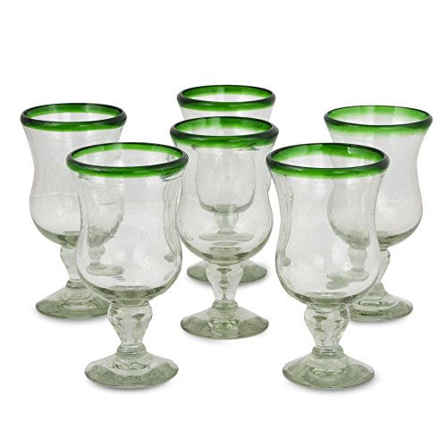 NOVICA 14291 Caribbean' (Set of 6) Pina Colada Glasses